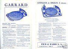 Publicité Film & Radio SA Garrard Changeur de disques 3 vitesses Tourne-disques