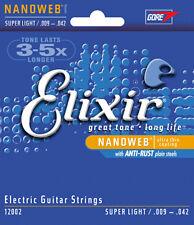 3 sets Elixir 12002 NANOWEB 9-42 Cordes pour guitare elec