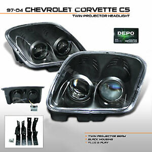 1997-2004 Chevy Corvette C5 All Models, Black Bezel Housing with Clear Lens.NEW
