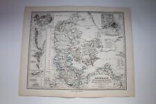 Carte de 1879, atlas Stieler,Gotha J. Perthes  Dänemark  N°44