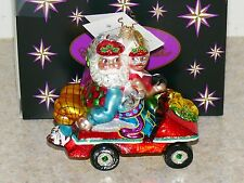 Vintage Christopher Radko Christmas Santa Golf Cart Glass Ornament NIB Germany