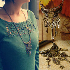 Retro Vintage Chic Bronze Key Pendant Necklace Long Chain Jewelry Women's Gift