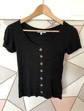 Brave Soul Black Ribbed Top Size XS