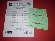 2000/01 FA CUP REPLAY ASTON VILLA V NEWCASTLE TEAMSHEET + 2 BOX TICKETS (2001)