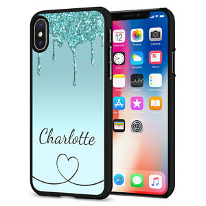PERSONALISED NAME Glitter HEART Phone Hard Case Cover For iPhone 12 164-3 Black