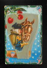 1909 Washington's Birthday Greetings Cherries Giant Ax Head Horse His Kindness