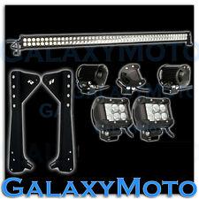 """50"""" LED LIGHT BAR+3"""" LED Adjustable Flood+Bracket Fit 97-06 Jeep TJ Wrangler"""