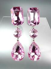 GLITZY Light Pink Czech Crystals LONG Bridal Queen Pageant Prom Earrings 222