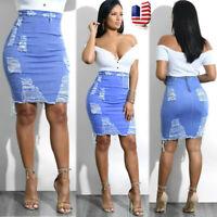 Ladies Womens High Waist Ripped Denim Distressed Bodycon Pencil Mini Jean Skirt