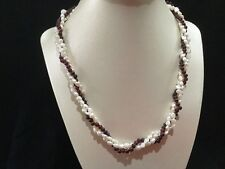 Vintage 3 Row Fresh Water Pearl & Garnet Beaded Twisted Necklace Gold Tone Clasp