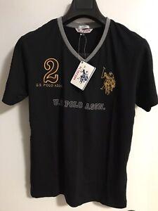 US Polo Assn Men V-Neck T-Shirt Black New (S)