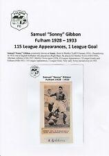 Sonny Gibbon Fulham 1928-1933 estremamente rara mano originale firmato TAGLIO / CARD