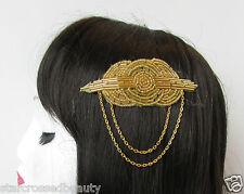 Années 1920 Gold de perles sur peigne pour tambour great gatsby vintage chaîne nuptiale Clip Q92
