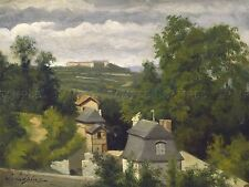 LAPINE FRENCH VIEW OUTSKIRTS CAEN OLD ART PAINTING POSTER BB6384A