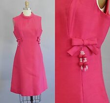 Vintage 1960s Magenta Sleeveless Knee Length Princess Seam Dress