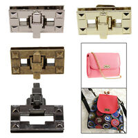 Silver Rectangle Bag Closures Buckle Twist Turn Lock for Leather Purses Handbags
