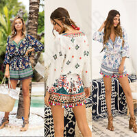 Women V Neck Floral Print Jumpsuit Tassels 3/4 Sleeve Casual Party Beach Romper