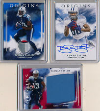 TAYWAN TAYLOR 2017 Lot 3 Pc Origins AUTO, LOGO Patch /49 & Red Jumbo /99 Titans