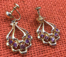 Coro Earrings Vintage Rhinestone Amethyst & Gold Plated Scew back Sparkly Drop
