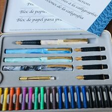 Calligraphy Pen Set STAEDTLER New In Metal Box 4 Pens 5 Nibs 20 Cartridges