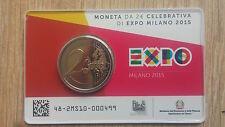 """2 euro commémorative ITALIE 2015 BU coincard """"EXPO MILAN"""""""
