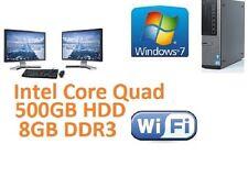 "Dell PC Core Quad 500GB HDD 8GB DDR3 WiFi Windows 7 Pro Dual Screen TFT 2 x 17"""