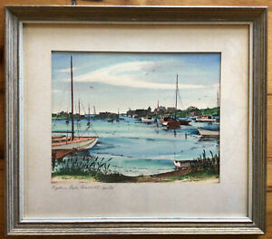 Orig ROBERT BROOKS Wychmere Harbor, Harwich Port, Cape Cod Watercolor Painting