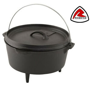 Robens 4.3 Litre Cast Iron Dutch Oven for Bushcraft & Outdoor Camp Fire Cooking
