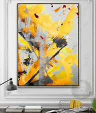 "YA#769 Modern Abstract Hand-painted oil painting Canvas Yellow No Frame 24""x36"""