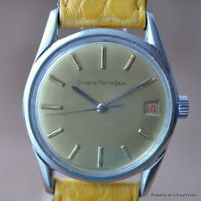 GIRARD-PERREGAUX GP 1960's AUTOMATIC STAINLESS STEEL GOLD DIAL ROULETTE DATE VTG
