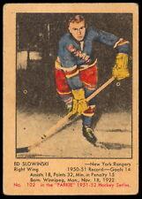 1951 52 PARKHURST HOCKEY #102 Ed Slowinski EX+ Rookie New York Rangers rc Card