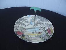 vintage grindley holiday art deco cake plate with green  bakelite handle