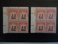 US SCOTT #J103  1978 13 CENTS CARMINE POSTAGE DUE MNH FVF 2 PLATE BLOCKS OF 4