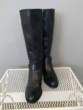 VIA SPIGA Black Leather, Knee High, Full Zip, Women's Boots size 10m