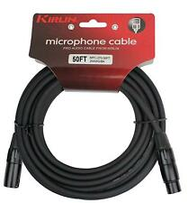50 ft Kirlin XLR Male/Female 20AWG Microphone Audio Cable Black NEW