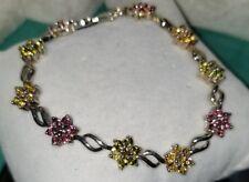 Chuck Clemency NYCII sterling silver FLOWER Daisy Tennis multi Gemstone Bracelet