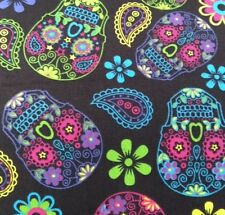 "SKULL CANDY ""MEX.DAY OF THE DEAD""100% cotton canvas fabric sold  by the metre"