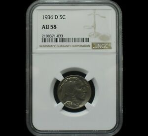 1936 D Buffalo Nickel Graded AU58 by NGC Only 28 in this Grade Almost UNC Beauty