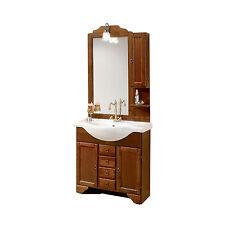 Mobile bagno classico lavabo da 85 arte povera legno pensile specchio e applique