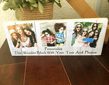 """10x4"""" Personalised Wood photo plaque with 3 Photos Friendship Best Friend Gift"""