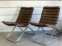 Pair of Vintage Chrome Folding Chairs 1970s  Mid Century