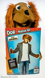 Dog Disguise Kit 2 Pc Brown Fabric Dog Face Hood & Furry Mitts Costume Kit OS