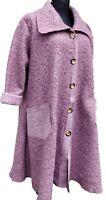 Damen Mantel  Wintermantel Wolle Bucle rosenquarz -meliert A-Stil EG 46- 48