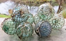 "Japanese Glass Fishing Floats 3-3.5"" Lot-9 *Antique Nets* Maritime Relics Vntg"