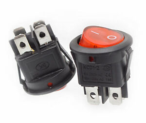 ON/OFF Round Rocker Switch LED illuminated 6A/250V 10A/125V AC Electrical. 049
