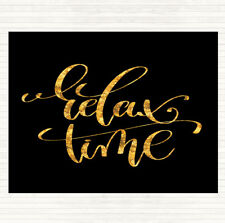 Black Gold Relax Time Quote Mouse Mat Pad