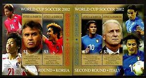 ANTIGUA BARBUDA 2002 WORLD SOCCER CUP  2nd Round KOREA/ITALY  MNH  2 MS [#1127]