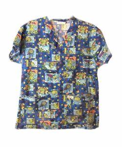 Crest Women Medical Nurse Scrub Top Shirt Frog Green Blue n Size XS