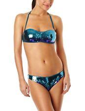 After Eden Beachwear Teal Sequinned Shimmer Padded Halter/Bandeau Bikini 32B