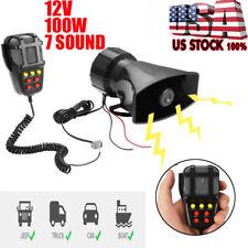 7 Sound Loud Car Warning Alarm Police Fire Siren Horn Pa Speaker System Mic